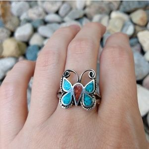 Vintage turquoise coral and silver butterfly ring